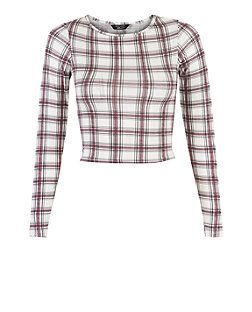 Teens White Check Long Sleeve Top  | New Look