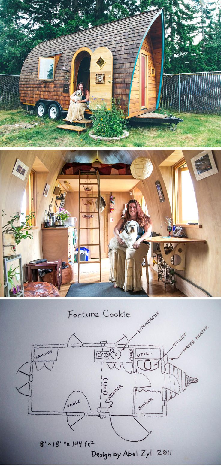 """Kera in her """"Fortune Cookie"""" tiny house built by Abel from Zyl Vardos. Photo by Scott Haydon. ( http://tinyhouseswoon.com/the-fortune-cookie/ )"""