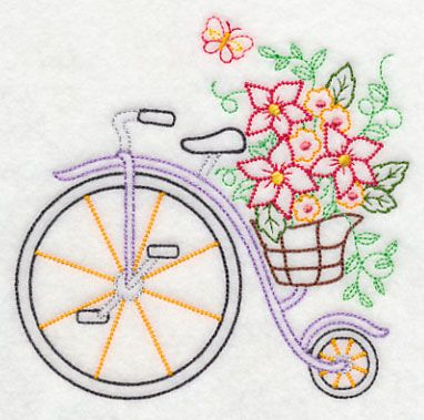 Penny Farthing in Bloom (Vintage) design (K7457) from www.Emblibrary.com