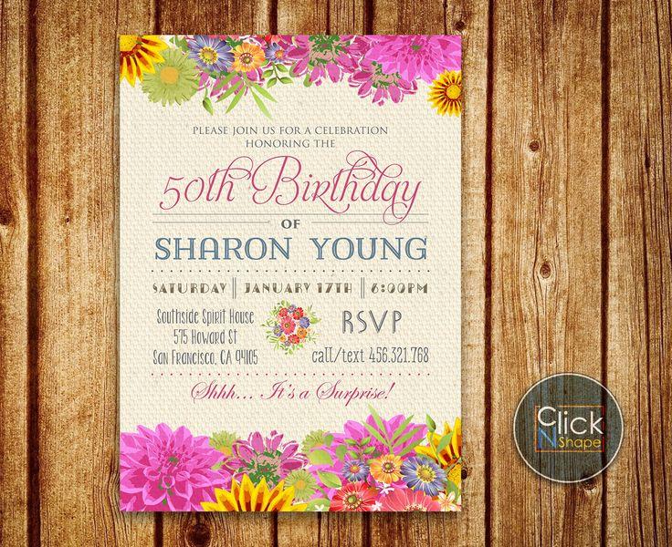 40th 50th 60th 70th Birthday Invitation Woman Floral