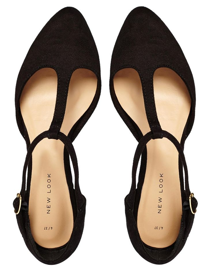 Jupiter Black T Bar Flat Shoes
