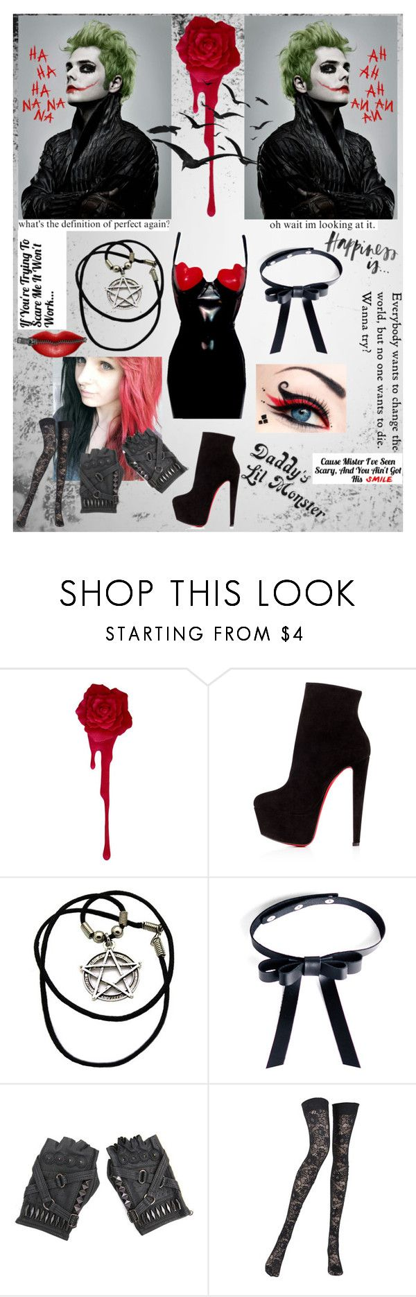 """Joker + Harley Quinn - Cosplay With Gerard Way"" by ish-fish ❤ liked on Polyvore featuring Christian Louboutin, Valfré and Pierre Mantoux"