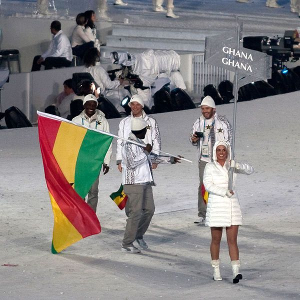 Ghanaian winter sports olympic team at the opening ceremony of the 2010 Winter Olympics.