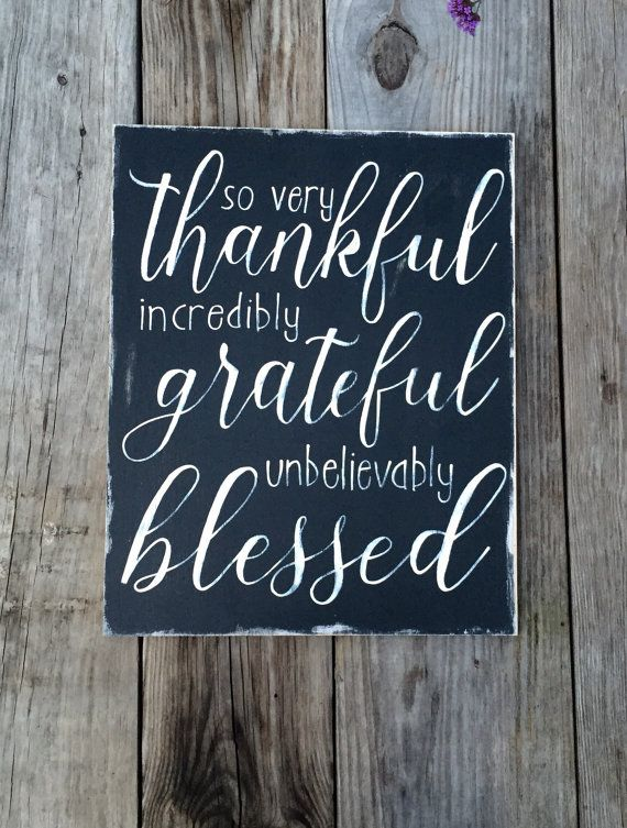 Thankful Grateful Blessed, thankful sign, grateful thankful blessed, farmhouse style, hand painted, wall decor, blessing sign decor, rustic