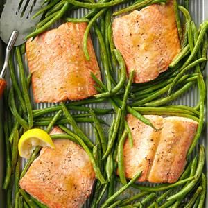 Sweet & Tangy Salmon with Green Beans Recipe from Taste of Home -- shared by Aliesha Caldwell of Robersonville, North Carolina