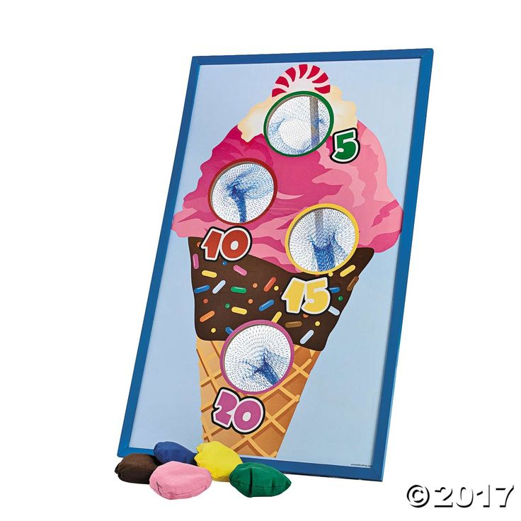 I scream, you scream, we'll all scream for this Ice Cream Bean Bag Toss Game! Toss the bean bags into the netted holes to score points. Scoop up some fun ...