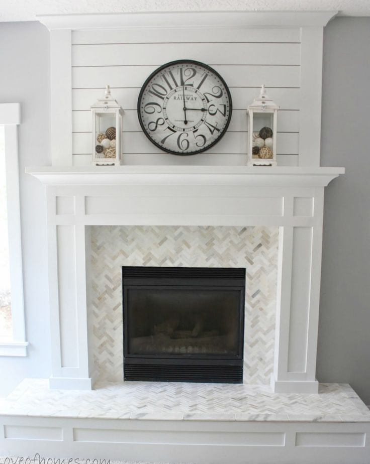 White Fireplace Makeover I want to do something similar to this on wall above fireplace, bring it up to ceiling