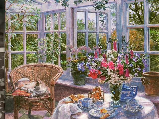 """Sunday Morning, by Stephen Darbishire RBA.  Copyright The Robertson collection.  Copyright Stephen Darbishire."