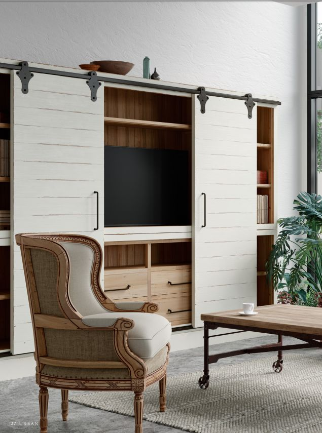 FREE SHIPPING IN THE US. USE CODE LOVE10OFF FOR 10% OFF YOUR ENTIRE PURCHASE.  Maximum TV size 55'', 83.5H x  112.6W x  15.7D in, Mahogany, 178.57 lbs  Complement a rustic living area with the farmhouse aesthetic of the Sonoma Media Cabinet with Sliding Doors. A charming piece to host modern media accessories, this cabinet is crafted with mahogany wood, solid brass hardware, and dovetail drawers.