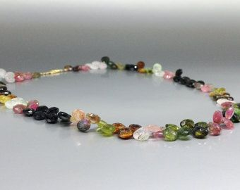 Check out Necklace watermelon Tourmaline with 14K gold clasp - Tourmaline drops - gift idea for Christmas on gemorydesign