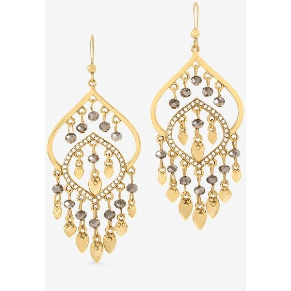 White House Black Market Beaded Chandelier Earrings ($35) ❤ liked on Polyvore featuring jewelry, earrings, nickel free earrings, nickel free jewelry, gold tone earrings, fish hook earrings and beaded chandelier earrings