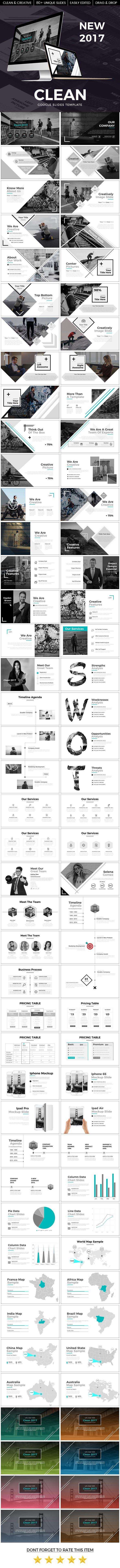 Clean 2017 Google Slide Template - Google Slides #Presentation #Templates Download here: https://graphicriver.net/item/clean-2017-google-slide-template/19742859?ref=alena994