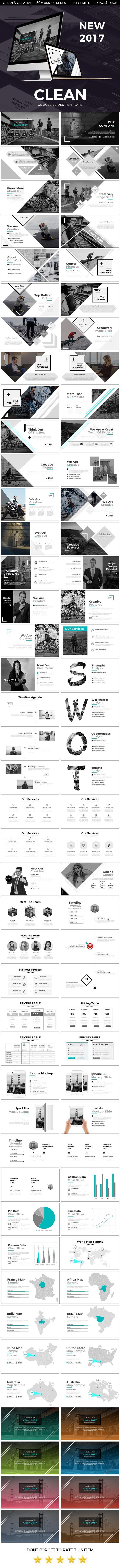Clean 2017 Google Slide Template - Google Slides #Presentation #Templates Download here: https://graphicriver.net/item/clean-2017-google-slide-template/19742859?ref=alena994
