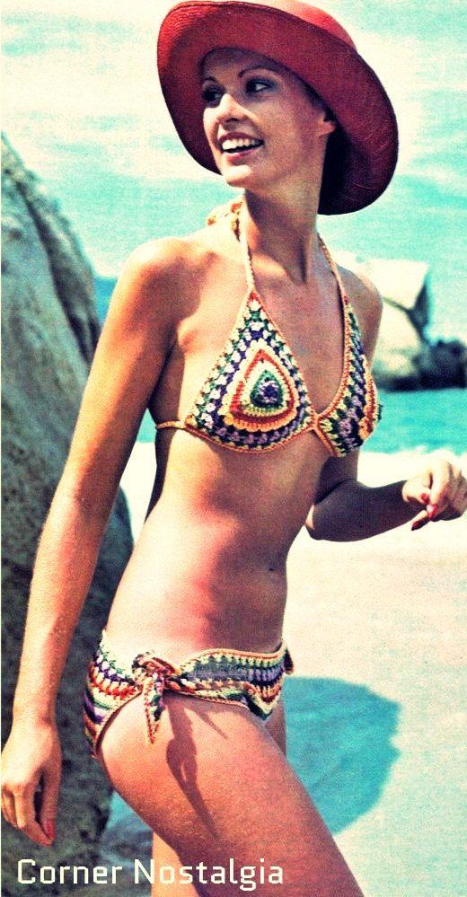 Crochet Pdf Pattern - Crochet Vintage bikini -Swimwear of 1970  Sizes: small (6-8) [medium (10-12) large (14)] are in parentheses. Crochet…