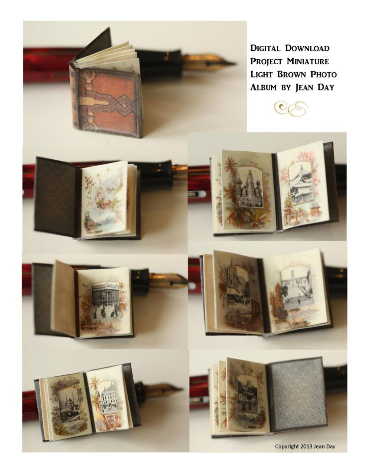 Digital Victorian Travel Photo Album Digital Miniature Printable Project, Light Brown DH009. $4.75, via Etsy.