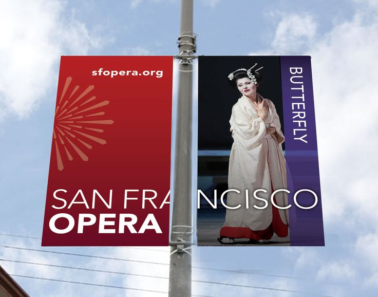 San Francisco Opera Pole Banner - Butterfly