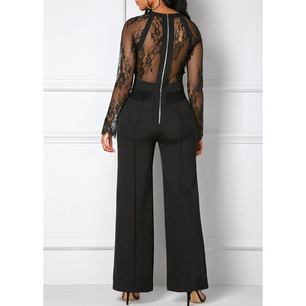 Lace Panel Black Zipper Back Pocket Jumpsuit ($34) ❤ liked on Polyvore featuring jumpsuits, black, long sleeve jumpsuit, patterned jumpsuit, long sleeve jump suit, print jumpsuit and jump suit