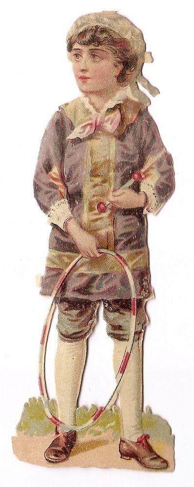 Jeune homme - -  Jeu Cerceau   - Chromo Decoupi  Victorian Scrap  Oblaten: