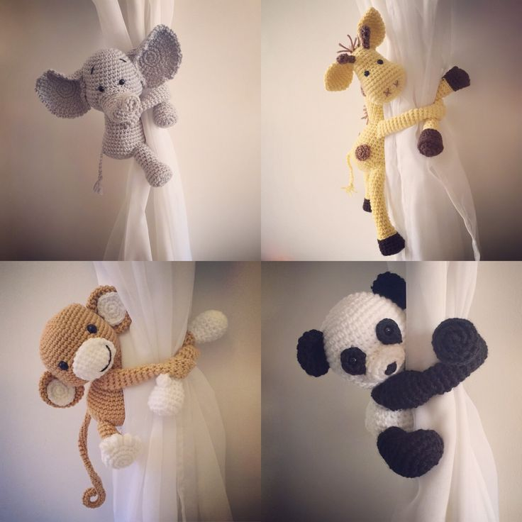 Curtain tie back, nursery, monkey, giraffe, panda, elephant, crochet, handmade by niceandcosee on Etsy https://www.etsy.com/listing/289071601/curtain-tie-back-nursery-monkey-giraffe