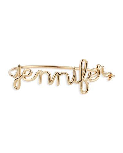 Y33B8 Jennifer Creel 14K Yellow Gold Script Name Bracelet