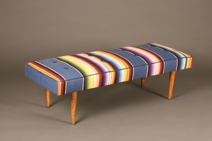 Midcentury Bench Reupholstered in a Vintage Mexican Serape — LUME HOME