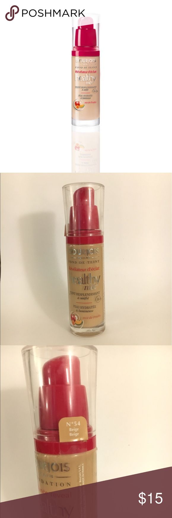 Bourjois Healthy Mix Foundation Bourjois healthy mix foundation in 54 (beige); glass packaging with pump and lid; used a few times but selling because I found a different shade that is a better match to my undertone Makeup Foundation