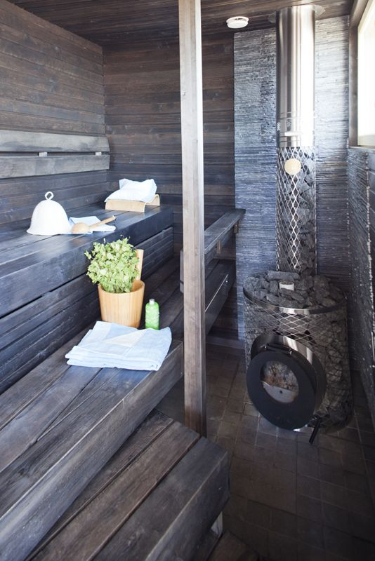 Dark sauna interior