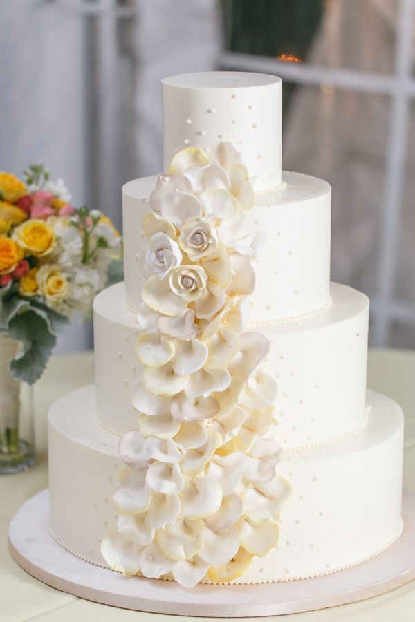 wedding cake with rose petals stylish blue amp yellow country manor wedding with a 26958