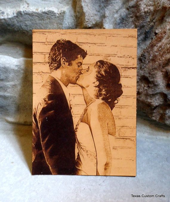Leather Engraved Wedding Photo Personalized by texascustomcrafts