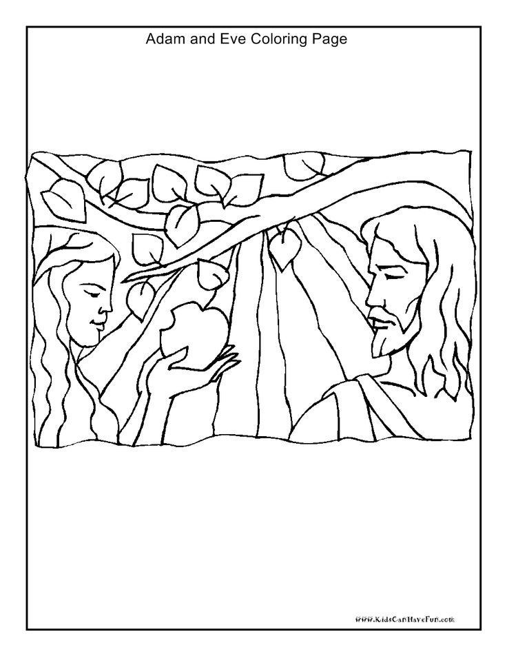 Adam And Eve Coloring Page Kidscanhavefun Christian