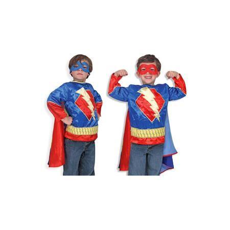 """Melissa & Doug Карнавальный костюм  """"Супер-Герой"""", Melissa & Doug  — 2799р.  Дети обожают комиксы и перевоплощения! Подарите Вашему мальчику карнавальный костюм """"Супер-Герой"""", Melissa & Doug и счастью не будет предела. Пираты и злодеи расступаются, когда на арену выступает Супергерой! Он смотрит на все проблемы через двуцветную полумаску и приходит на помощь всем слабым. При этом за ним так красиво развевается сине - полосатый плащ.  Карнавальный костюм """"Супер-Герой"""" прекрасно подойдет  для…"""