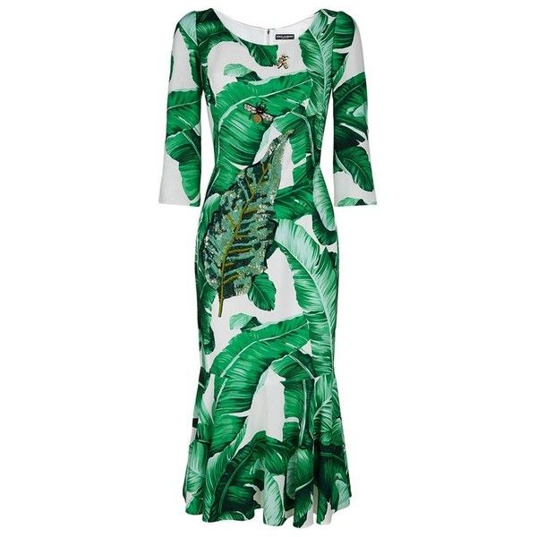 Dolce & Gabbana Leaf Print Embellished Trumpet Hem Dress (47.030 ARS) ❤ liked on Polyvore featuring dresses, green cocktail dress, sparkly cocktail dresses, flower print dress, floral dresses and green floral dress