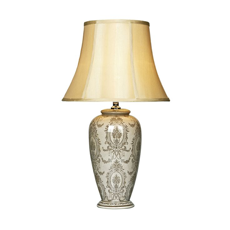The rosalind is a cream with repeated brown patterned glazed ceramic base table lamp complimented with a taupe shade the rosalind range also includes
