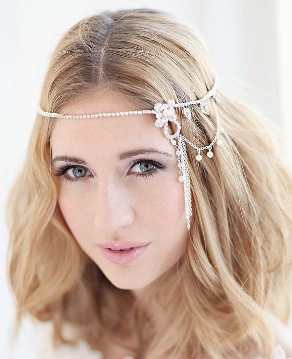 Bridal headdress wedding bridal forehead by CorrineSmithDesign, £165.00
