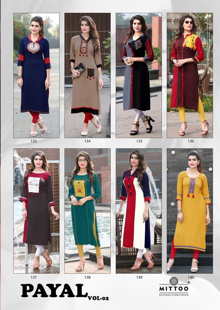 Brand Name : Mittoo Catalog : PAYAL VOL 2 Design : 8 Fabric : 14 Kg Rayon Work : Thread Embroidery Size : M(38), L(40), XL(42), XXL(44), XXXL(46) Rate : 425 / Pic + 5% GST Dispatch Date : 10th February
