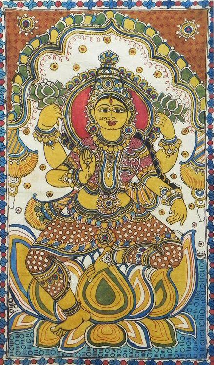 Goddess Lakshmi (Kalamkari Paintings on Cotton - Unframed))