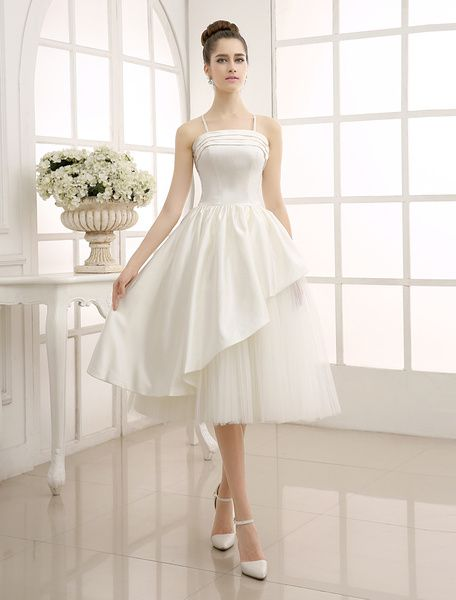 Tea-Length Ivory Ruffled Wedding Dress with A-Line Spaghetti Straps