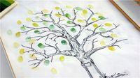 1x estilo europeo boda de artículos para fiestas del árbol de huellas dactilares cartel de chapa pintura de negocios y firma creativa libro de visitas árbol de amor
