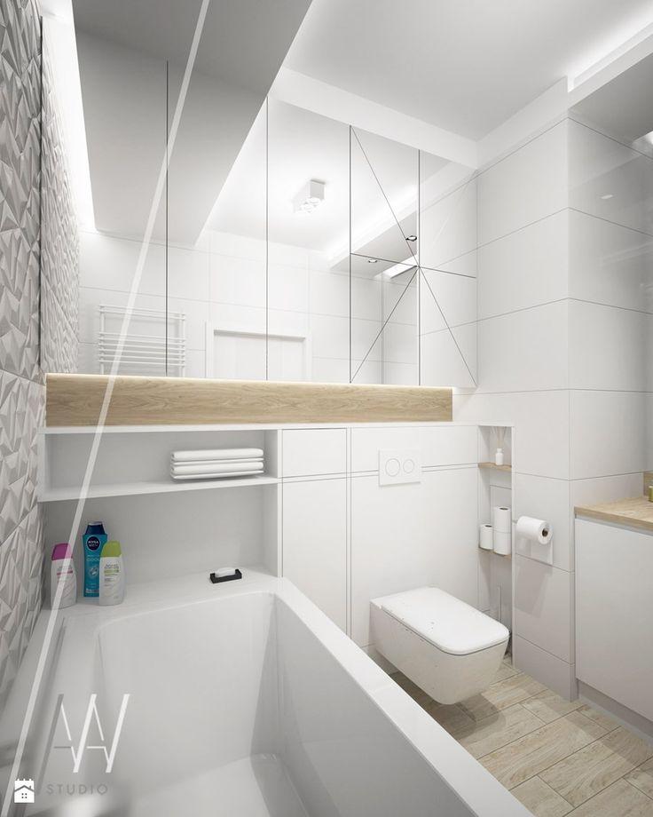 GEOMETRYCZNIE Z PASTELOWĄ NUTĄ... - Mała łazienka w bloku bez okna, styl nowoczesny - zdjęcie od AAW studio