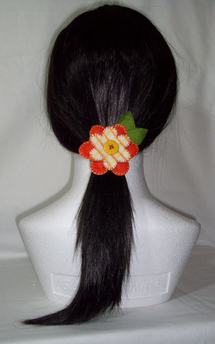 Orange / Yellow felt flower hair bobble, hair tie, pony tail holder. OOAK One of a kind Approx: 2 3/4 inch / 7cm across. FREE SHIPPING