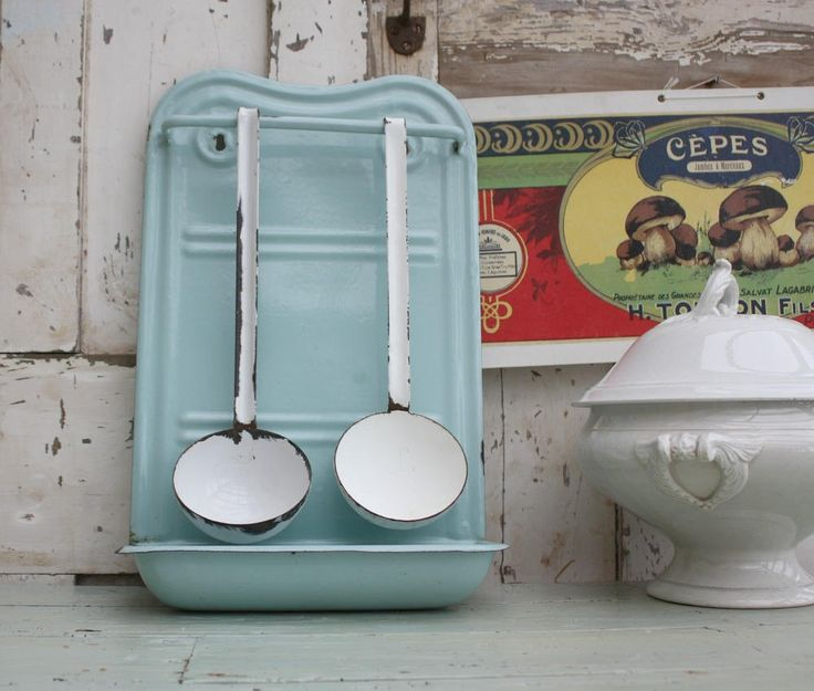 French Vintage Enamel Kitchen Utensil Rack - Duck Egg Blue - French kitchenalia by Restored2bloved on Etsy
