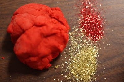 """lucky Chinese play dough"" for Chinese new year! red with gold glitter. love it!!"