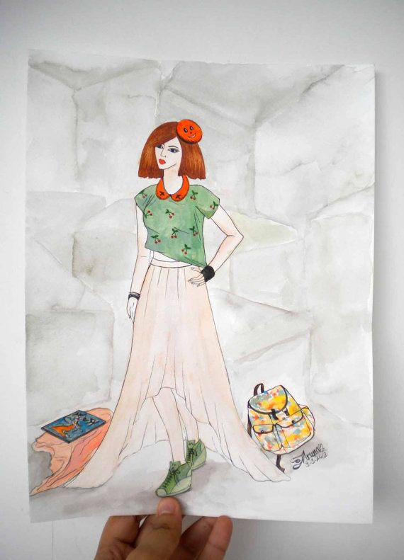 Fashion illustration in Watercolor  'On Trend' by Kalatirth, $50.00