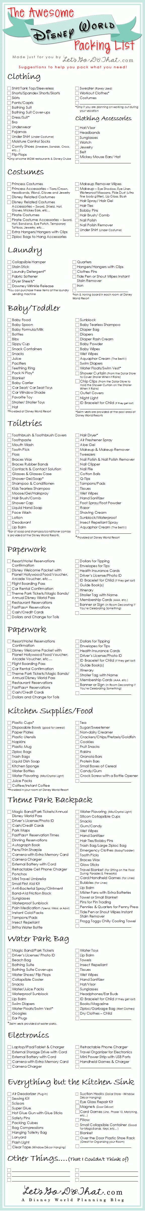 The Awesome Disney World Packing List is just a list of suggestions of what to pack for a Walt Disney World vacation. It does not mean that you have to take everything on the list. You might have to rent a mini trailer if you take everything on this list.