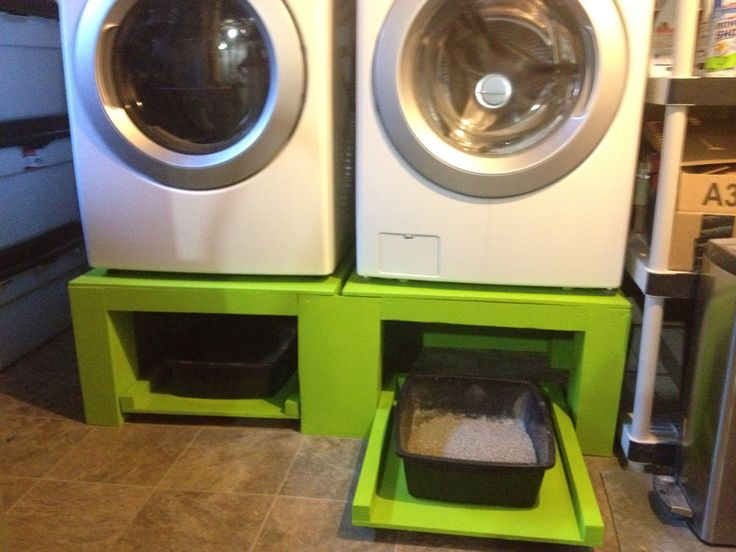 Washer And Dryer Pedestals With Roll Out Trays For Litter