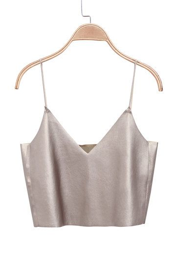 @andwhatelse \ Metallic Leather Cami Crop Top \ Minimal Fashion Favourites