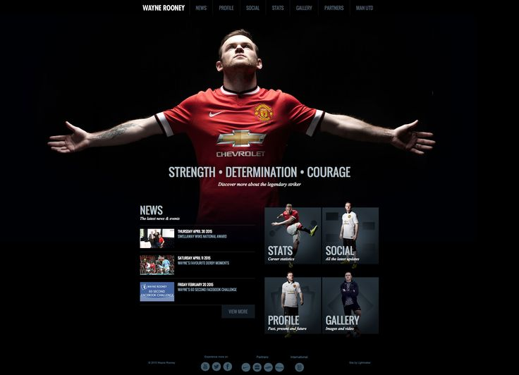 Wayne Rooney's nicely designed website.  Check out the stats page!
