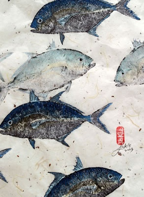 Gyotaku (Ghee-yo-tah-koo) Taking rubbings of fish then eating fish later in day.