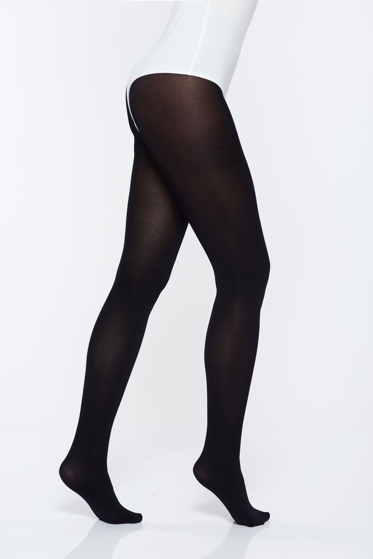 Black elastic cotton 150 den women`s tights with tented cut, 150 den, runstop, elastic cotton, tented cut, soft flat seam