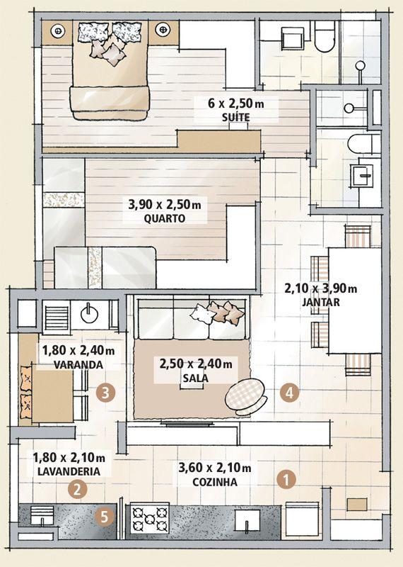 Apartamento decorado de 70 m² parece maior com algumas paredes a menos - Casa